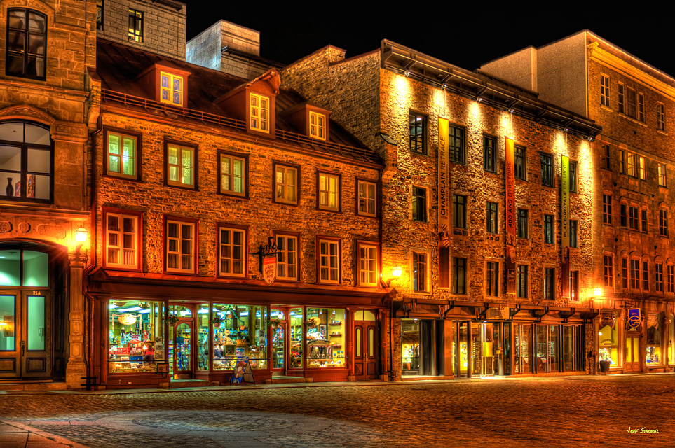 jeff strobel: nighttime at the toy shop (quebec city)